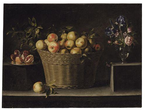 Zurbarán. Manzanas en una cesta de mimbre. 81,3 x 109,2 cm. Se subastará el 3 de julio en la sala londinense de Christie's. Estimado: 2.500.000- 3.500.000 de libras. Foto: cortesía de Chirstie's