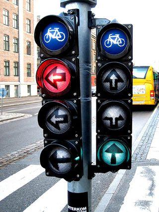 Semáforos para bicics en Berlín. Copenhagenize.