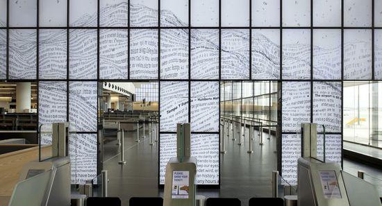 La instalación Textscapes del FutureLab de Linz en el aeropuerto de Viena