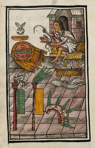MIRADAS.ARTISTA PLUMARIO CON ESCUDO CEREMONIAL (CHIMALLI) Y OBJETOS RITUALES HECHOS DE PLUMAS.Codex Florentino de Bernardino de Sahagún. Biblioteca Medicea Laurenziana. Florencia