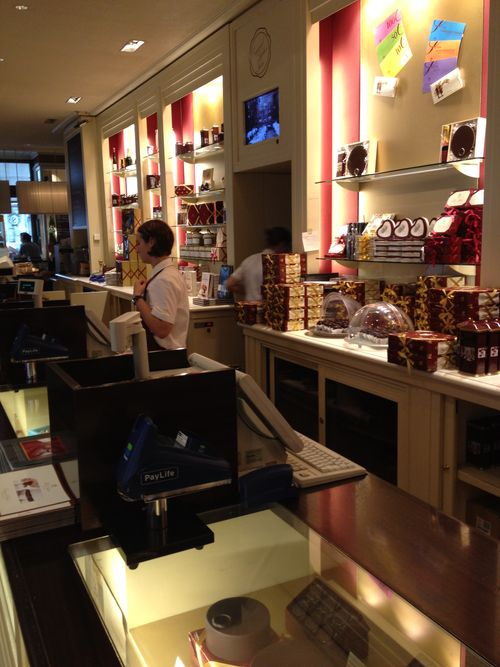 Mostrador de la pastelería del Hotel Sacher