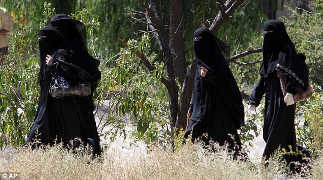 Yemeni female students seen at the University of Sana'a