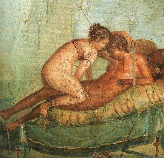 Fresco de Pompeya en el Gabinete Secreto del Museo Arqueológico de Nápoles.