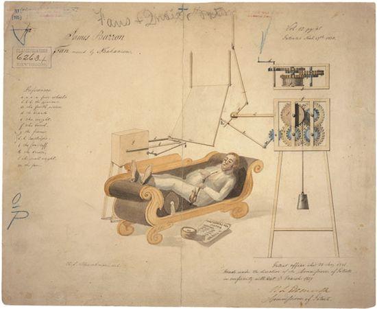 Fan moved by mechanism James Barron 1837