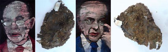 Los retratos de Bakia y BBVA y las intervenciones de los buitres en las obras de Abelló