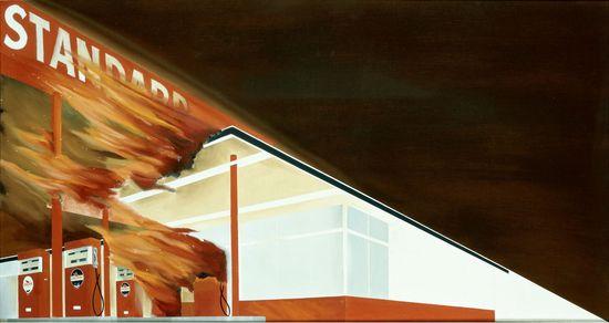 WARHOL MET.Ed Ruscha_Burning Gas Station