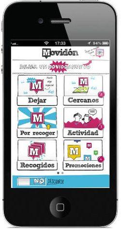 Interfaz del la aplicación Movióon