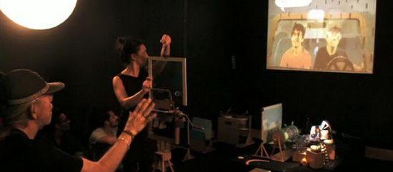 Ángeles Ciscar actuando en la instalación interactiva Bildungsroman