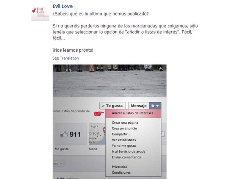 Aviso fan page evil love