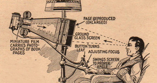 The book reader of the future. April 1935 issue of Everyday Science and Mechanics