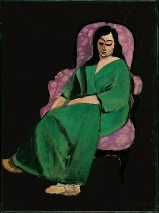 MATISSE.25._Laurette in a Green Robe, Black Background_Henri Matisse