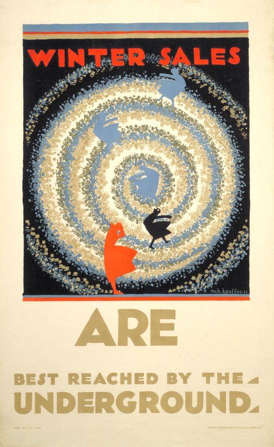 Winter sales are best reached by the Underground, by Edward McKnight Kauffer, 1922