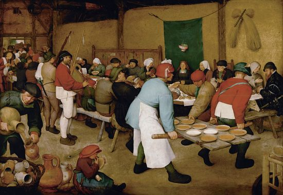 PIETER_BRUEGHEL_EL_VIEJO_-_Boda_Campesina_(Kunsthistorisches_Museum_de_Viena,_1566-69._Óleo_sobre_tabla,_114_x_164_cm)[1]