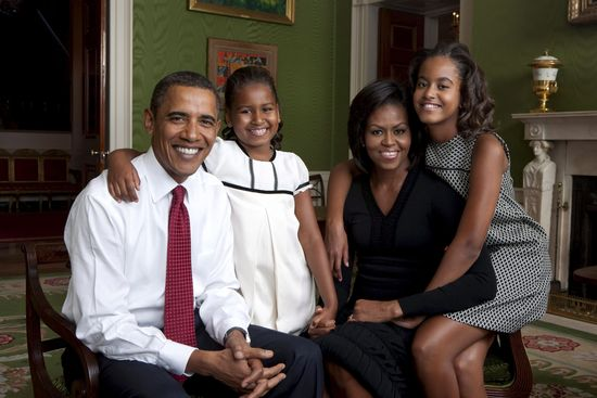 Foto de la familia Obama realizada en 2009.