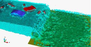 Efecto de un tsunami en una zona costera. Las simulaciones numéricas permiten evaluar los desastres naturales y sus consecuencias (Fuente CIMNE)