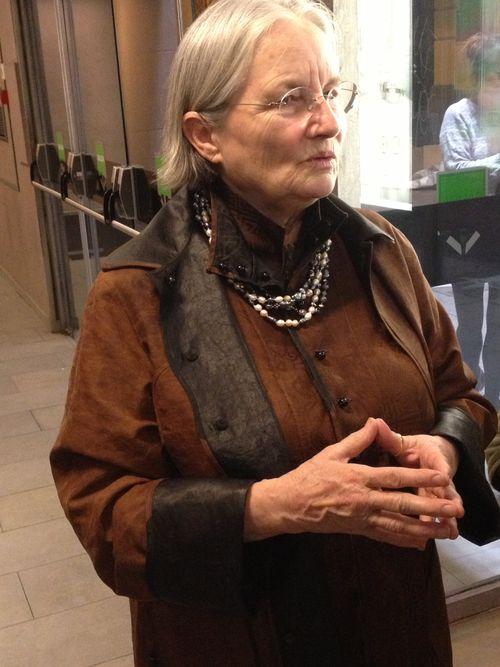 Danièle Delpeuch a la salida de los cines Golem, tras la proyección de la película