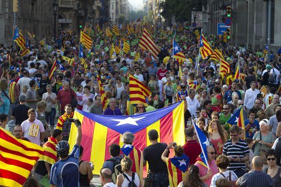 Manifestación independentista en la Diada del 11-S de 2012 / TEJEDERAS