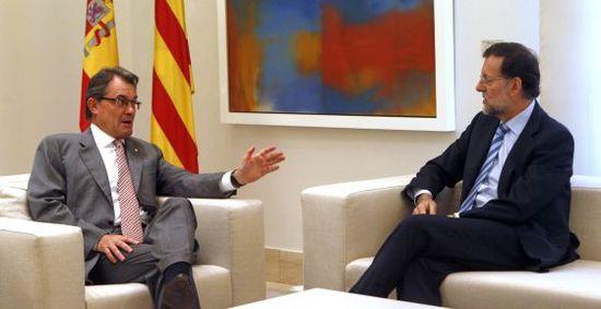 Mas y Rajoy, durante la reunión en La Moncloa