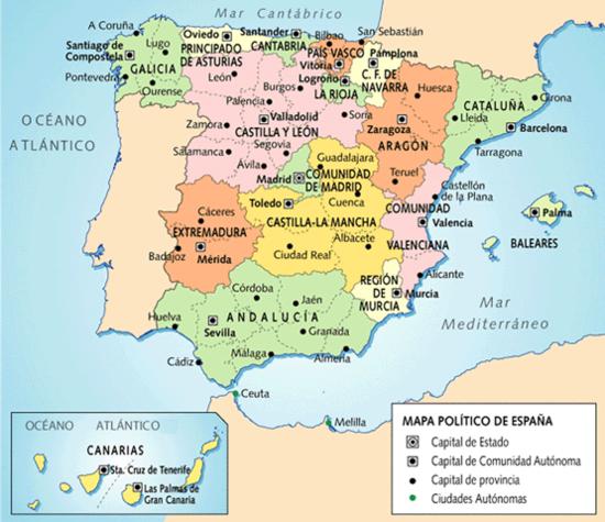Mapa político de España con 17 comunidades autónomas y dos ciudades autónomas.