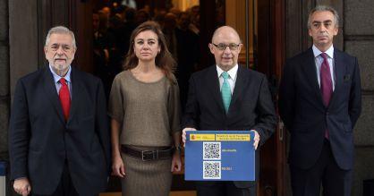 El equipo presupuestario del Gobierno. De izquierda a derecha Antonio Beteta, Marta Fernández Currás, Cristóbal Montoro y Miguel Ferre