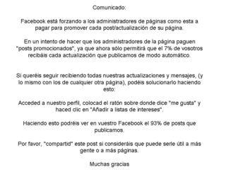 Comunicado fans page