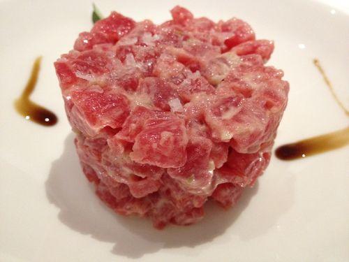 Tartar de ventresca de atún de almadraba, excepcional