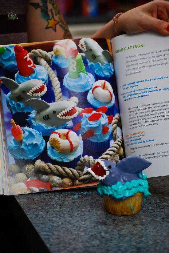 Cupcakes de tiburones