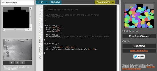 Interfaz online en Processing.js de  #programalaplaza
