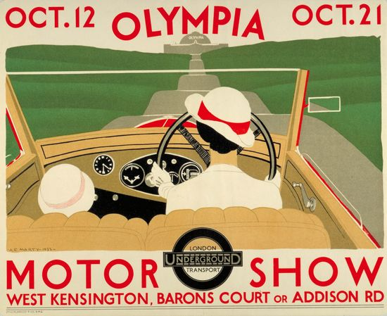 Olympia Motor Show, by Andre Edouard Marty, 1933