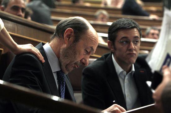 Rubalcaba y Madina en el Congreso. / ULY MARTÍN