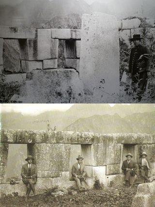Arriba, fotografía de 1911 que muestra el lugar donde se encontró la inscripción de Lizárraga (ventana izquierda). Abajo, el mismo lugar en 1925, con la firma ya borrada.