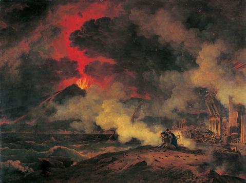 POMPEYA.getty.Pierre Henri de Valenciennes. eurpción del Vesubio.1813