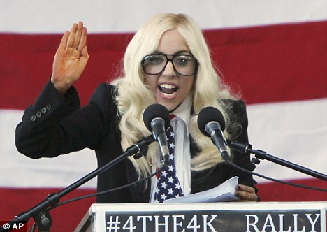 Lady+Gaga+unleashes+her+inner+activist+(in+some+peculiar+glasses+and+a+blonde+wig)+as+she+takes+the+stage+at+political+rally+3