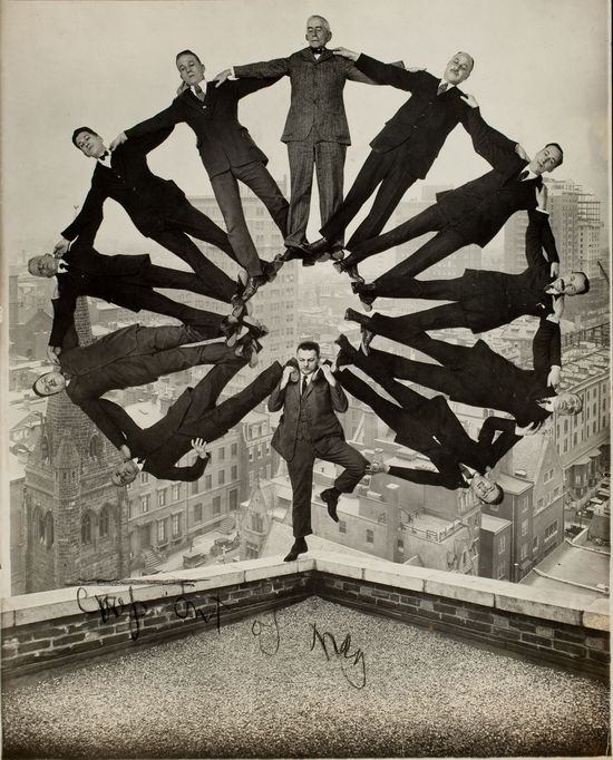 10._Man on Rooftop with Eleven Men_Unidentified American artist