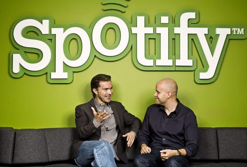 Los fundadores de Spotify Martin Lorentzon (derecha) y Daniel Ek