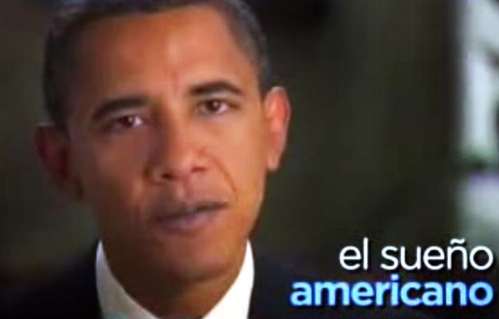 Cartel de Obama pidiendo el voto a los hispanos.