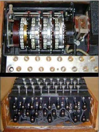 Detalle de los rotores y las conexiones de la máquina Enigma