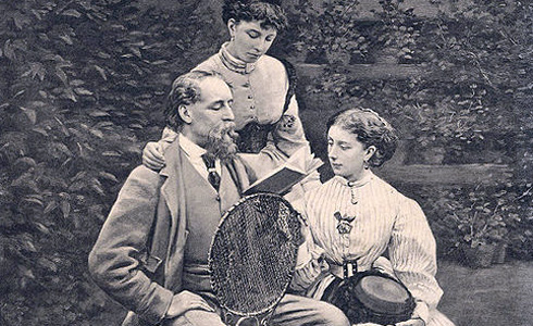 Dickens with daughters