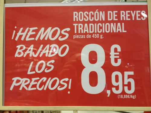 Cartel promocional expuesto en Supercor de Las Rozas (Madrid) el día 24 de diciembre