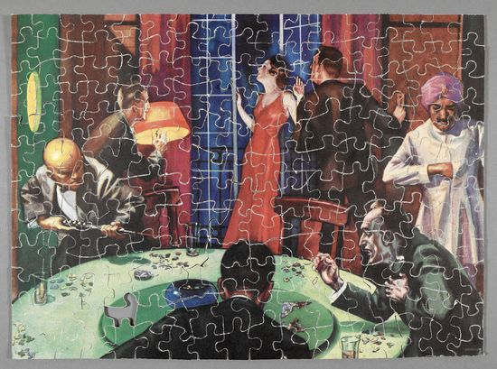 The Jigsaw Puzzle Murders (1933), an intriguing book with an real jigsaw puzzle providing the solution