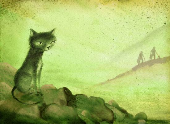 Ilustración de El gato de Dick Baker de Elena Ferrándiz, cuento recogido dentro del libro El paraíso de los gatos y otros cuentos gatunos.