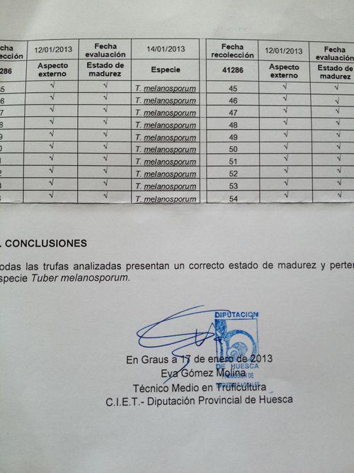 Certificado de autenticidad que proporciona el Centro de Truficultura de la Diputación Provincial de Huesca