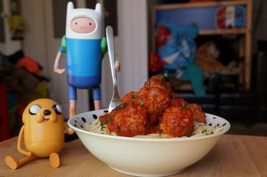 Albondigas con espaguetis de hora de aventuras