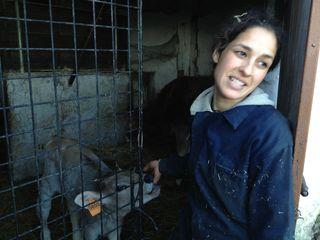 La veterinaria Irene Burgos, que cuida de los animales de la finca