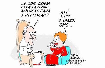 Viñeta sobre Dilma y el papa