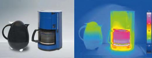Imagen termográfica de un termo y una cafetera eléctrica
