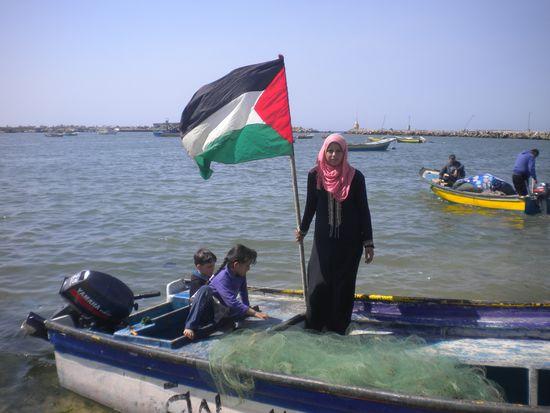 Madlín Kulab, la única pescadora de Gaza / Foto: Miguel Ángel Medina
