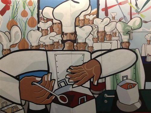 Mural del artista guipuzcoano Tomás Hernández, que preside la entrada del Aula de Formación de Pedro Subijana