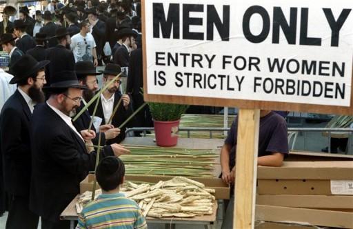 Haredim No Women Allowed sign