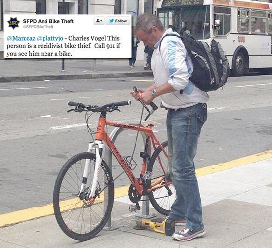 Foto del ladrón de bicicletas vía Satindar (Instagram)